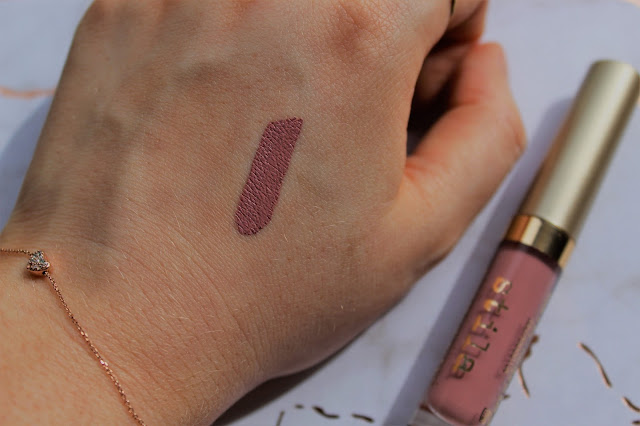 swatch of pink liquid lipstick