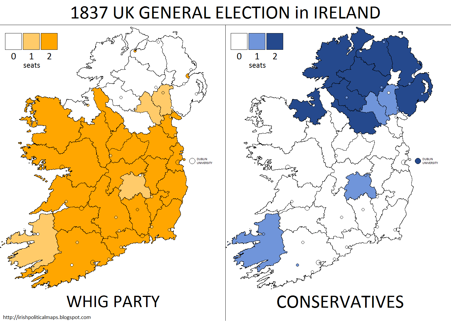Map Of Uk Mps.Irish Political Maps 1837 Uk General Election In Ireland