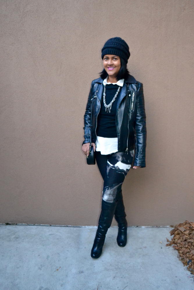 H&M leggings and leather jacket
