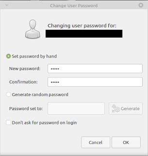 masukkan password untuk user yang baru dibuat