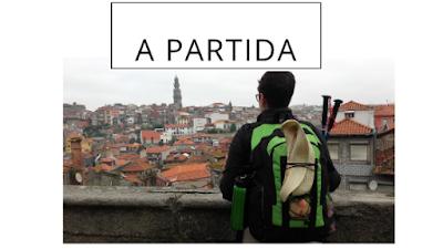 Peregrina de Santiago de Compostela olhando para a cidade do Porto