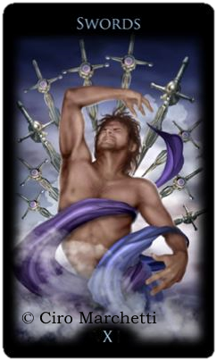 Legacy of the Divine Tarot, Ciro Marchetti, Ten of Swords