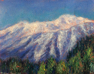 A soft pastel painting of snow capped mountains at Dalhousie, Himachal by Manju Panchal