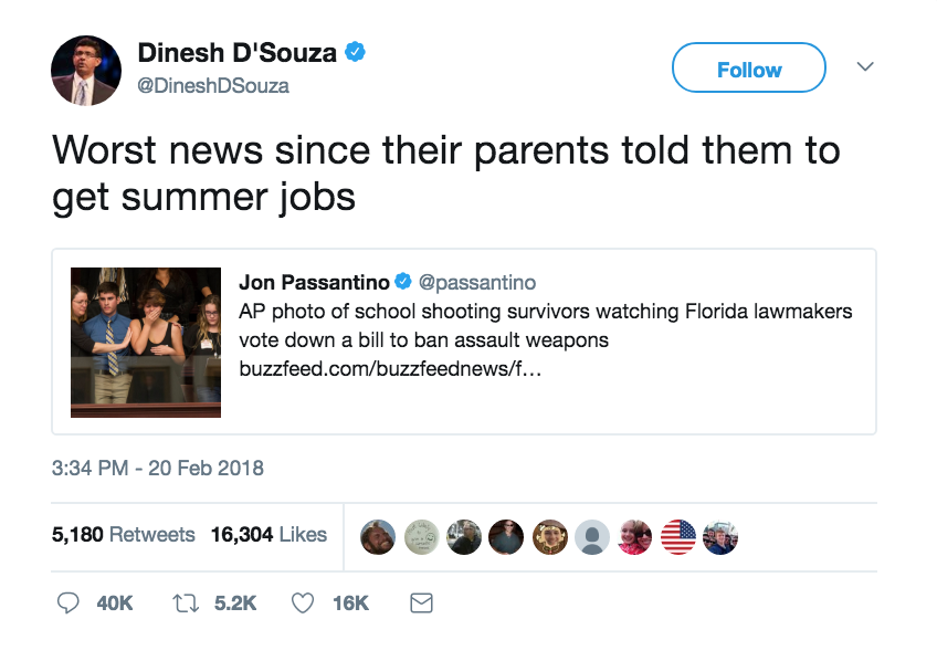 Gun Control. Horribly insensitive tweet from felon Dinesh D'Souza. Thoughts and Prayers. marchmatron.com