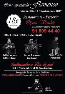 Cartel cena espectáculo flamenco, 17 de noviembre, viernes