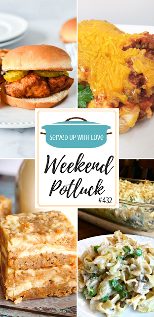 Weekend Potluck featured recipes include Carrot Cake Blondies, Easy Taco Casserole, Copycat Chick-Fil-A Sandwiches, Old Fashioned Tuna Noodle Casserole, and so much more.