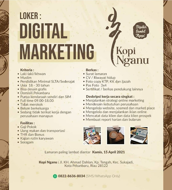 Kopi Nganu Membuka Loker Sebagai Digital Marketing