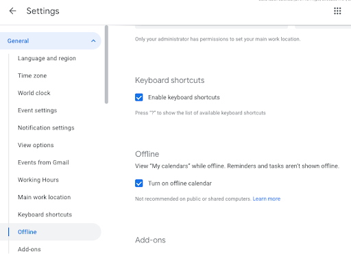 Enable offline support for Google Calendar on web from your computer 2