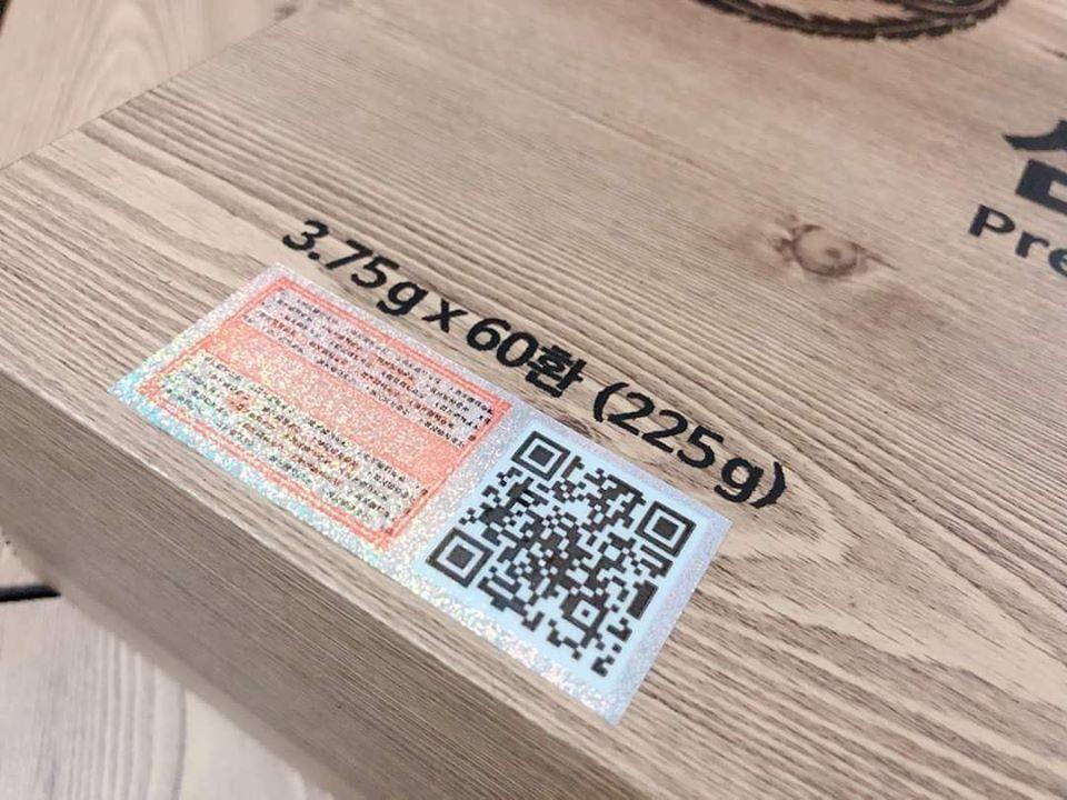An cung ngưu hoàng hoàn Hàn Quốc tuần hoàn não hộp gỗ loại 60 viên