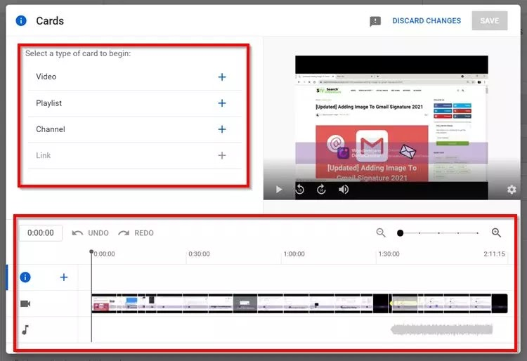 Implement YouTube Cards On Published Video