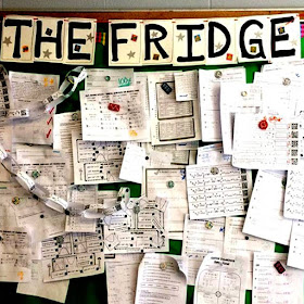Who doesn't love free? In this post are a bunch of free math bulletin board printables, from posters to math pennants that you can download for your classroom today. Here is a free set of bulletin board letters to make a classroom fridge to display student work.
