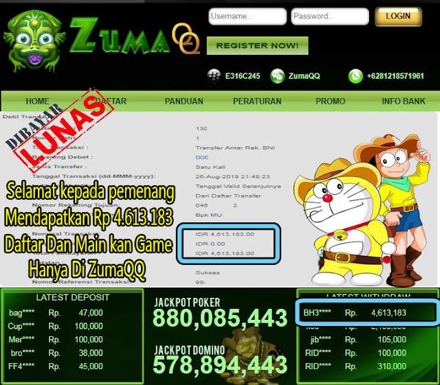 ZumaQQ Selamat Kepada Pemenang Periode 26 Agustus 2019 Part2