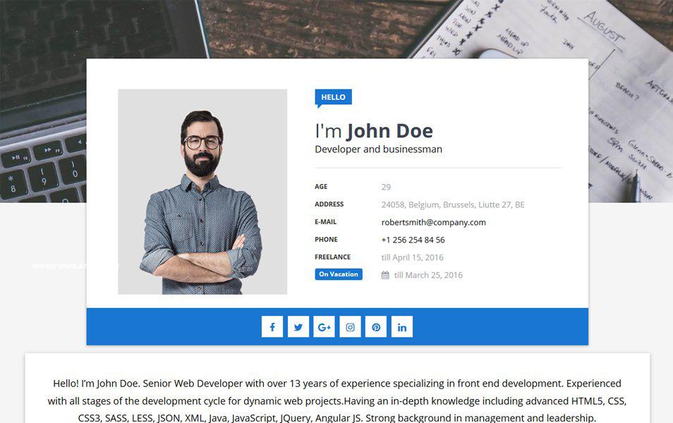 Responsive ResumeCV Blogger Templates