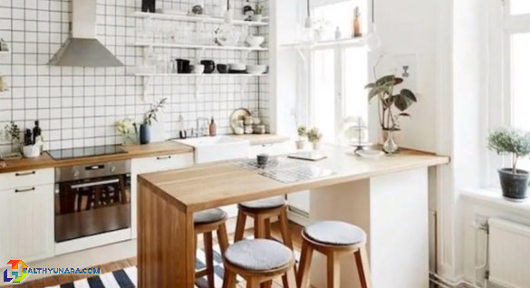 Design a kitchen with a minibar dining table