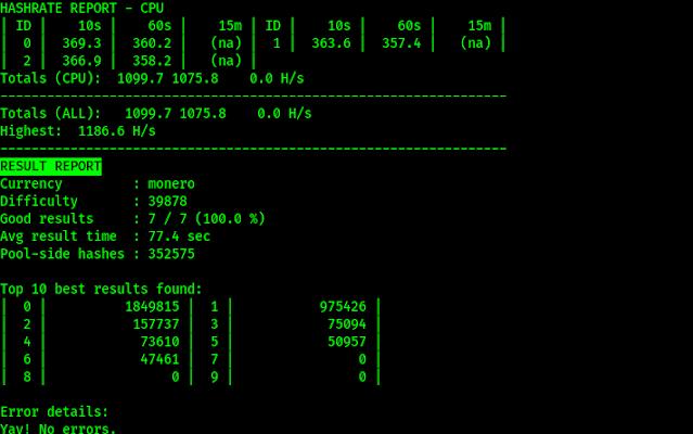 xmr-stak hash rate and report of monero mining