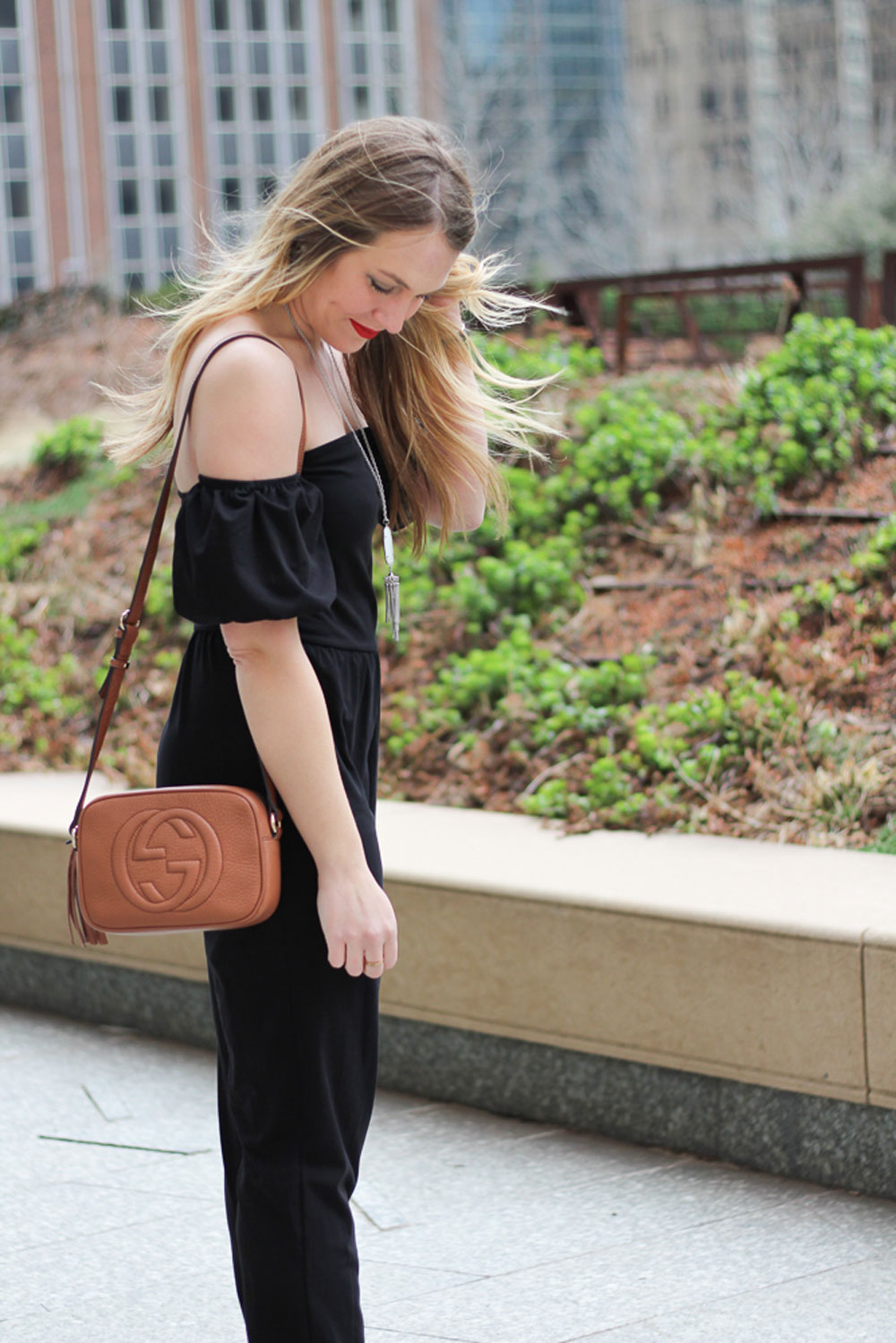 black jumpsuit look
