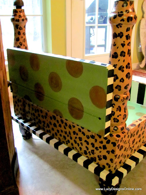 painted dog bed back view