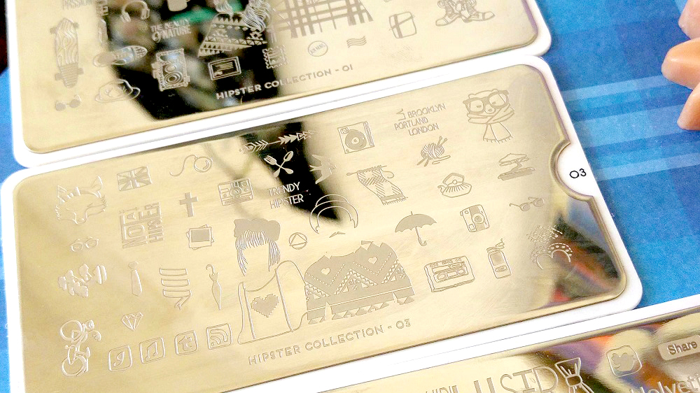 Hipster Collection : Stamping Plates 01, 02, 03 | Nail stamping, nail art, hipster, maquillage pas cher, Equivalenza, Konad