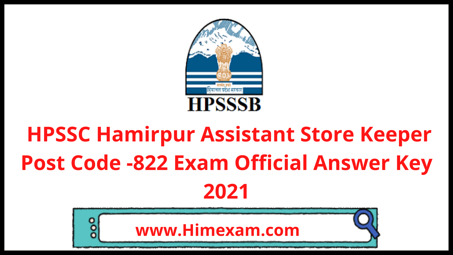 HPSSC Hamirpur Assistant Store Keeper Post Code -822 Exam Official Answer Key 2021