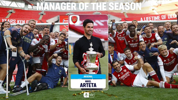 Arsenal manager Mikel Arteta voted FA Cup manager of the season by a landslide