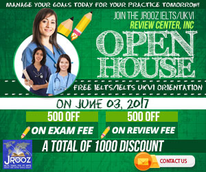 JROOZ FREE IELTS/IELTS UKVI ONE DAY PROMO  Join us on June 3, 2017  Know the basics of IELTS and IELTS UKVI  GET 1000 OFF  Manage Your Goals Today For Your Practice Tomorrow!