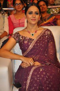 Rakul Preet Singh Looks stunning in Maroon saree at Jaya Janko Audio Launch