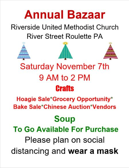 11-7 Annual Bazaar At The Riverside Methodist Church
