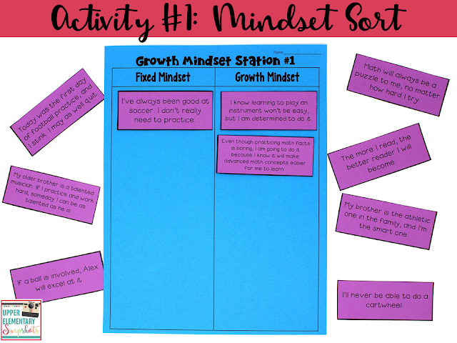 One of five FREE growth mindset learning centers! Students will sort statements into two categories: fixed mindset and growth mindset.