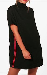 robe noir a bande rouge