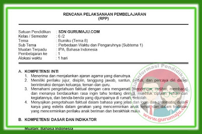 RPP Kelas 6 Tema 8 Kurikulum 2013 Revisi 2018