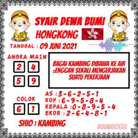 Syair Dewa Bumi HK Rabu 09-Juni-2021