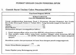 Format usulan penerima BLUM UMKM