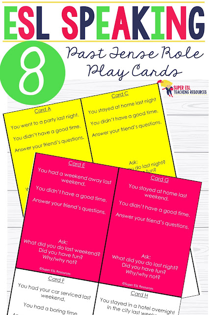 Have fun with your ESL students with these this super simple and fun Past Tense Role Play Cards ESL for Adults! Students will receive a 'role play' card each and read what their role is on each card, they will then ask the questions that are written on their card and converse with their partner. They will also practice sentence writing.These cards can be laminated and used and re-used.
