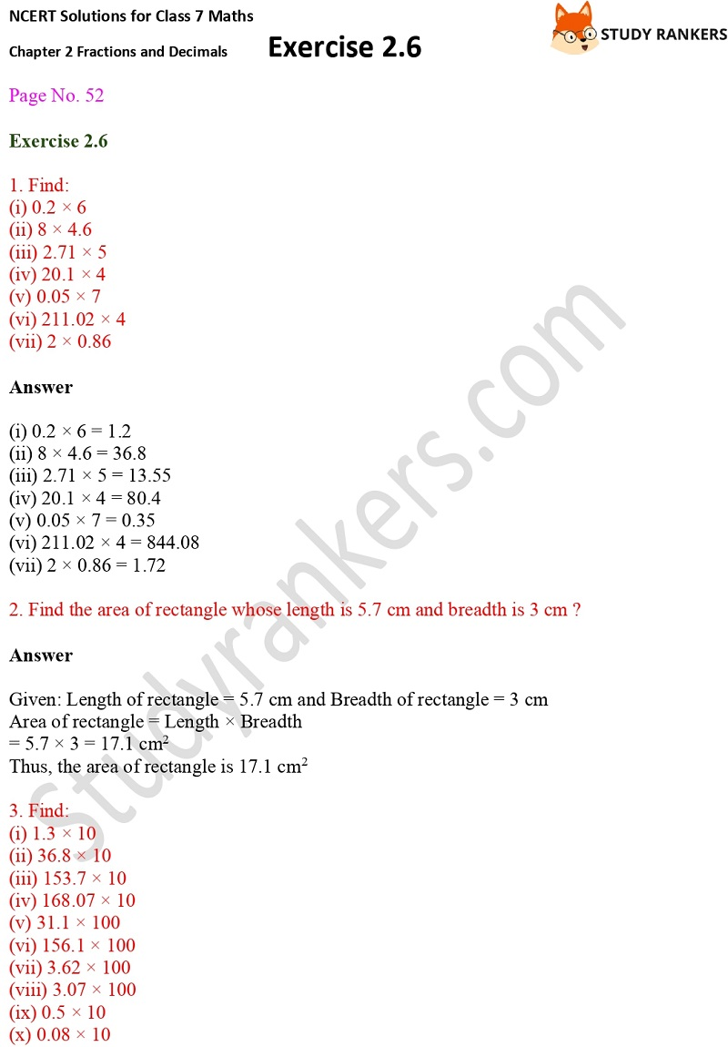NCERT Solutions for Class 7 Maths Ch 2 Fractions and Decimals Exercise 2.6 1