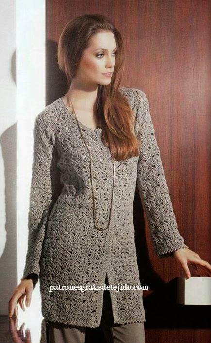 Patrones y moldes de sacón crochet de dama | Crochet y Dos agujas ...