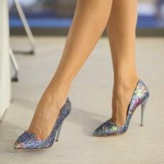 Pantofi dama eleganti de ocazii multicolori cu toc