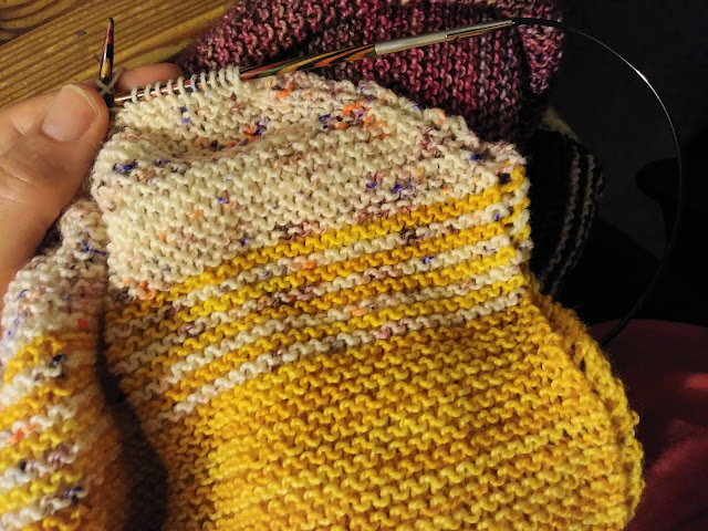 Faded garter stitch shawl knit with Knit Picks Sunstorm Hawthorne collection
