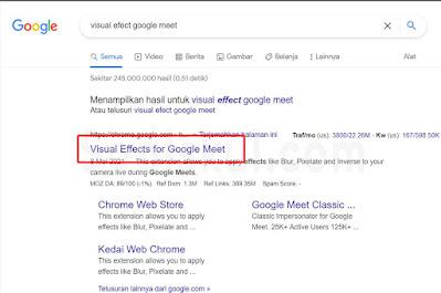 langkah 2 instal visual effect google meet