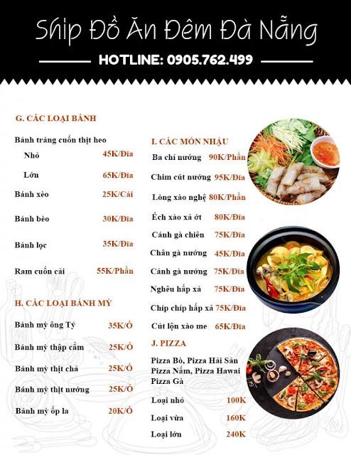 Menu 2 dịch vụ ship đồ ăn đêm tại Đà Nẵng 2020