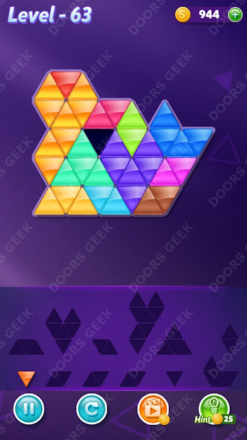 Block! Triangle Puzzle 12 Mania Level 63 Solution, Cheats, Walkthrough for Android, iPhone, iPad and iPod