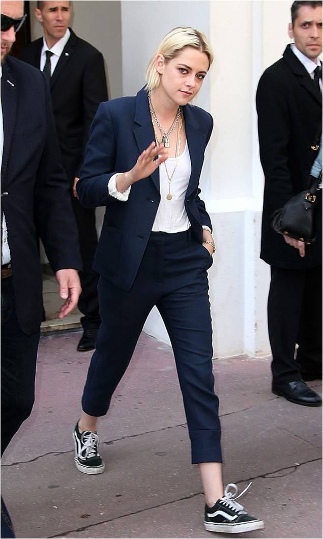 Kristen Stewart Wearing Navy Suit White Tank Fashion Blog By Apparel Search