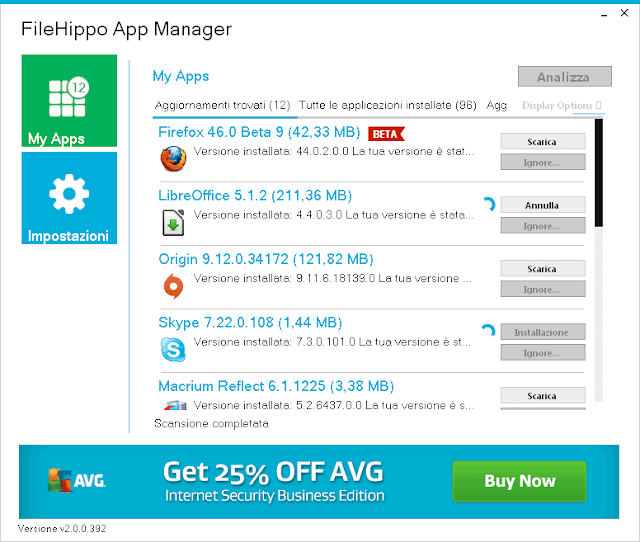 FileHippo App Manager interfaccia