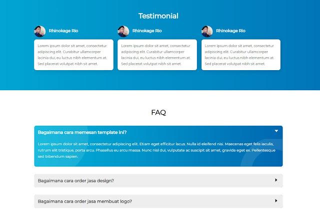 Tampilan Testimonial dan FAQ