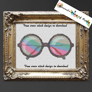 cross stitch John Lennon style rainbow sunglasses.
