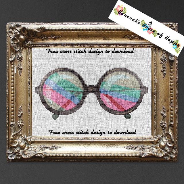 Free cross stitch pattern for John Lennon style rainbow sunglasses.