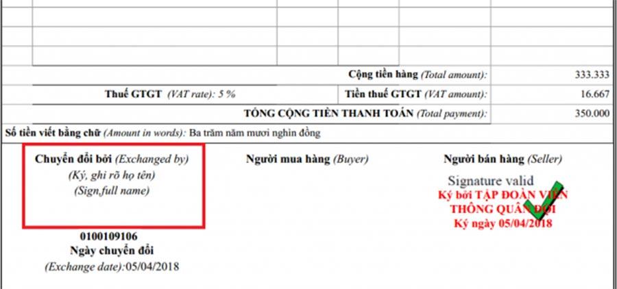 Hình 6 - Kiểm tra thông tin người chuyển đổi hóa đơn và ngày chuyển đổi