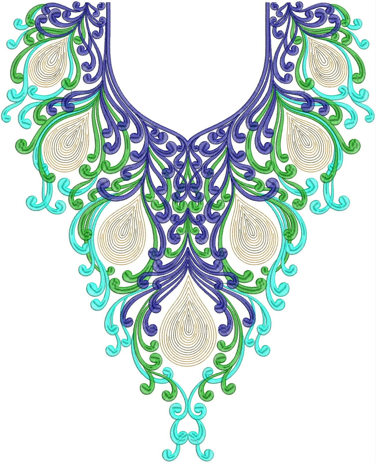 Lace Neckline Embroidery Designs