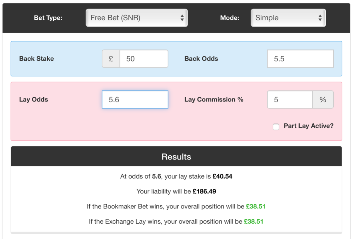 Example of a matched betting calculator