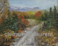 Coin de Maria, Gaspésie, huile 8 x 10 de Clémence St-Laurent - paysage d'automne en terrain montagneux