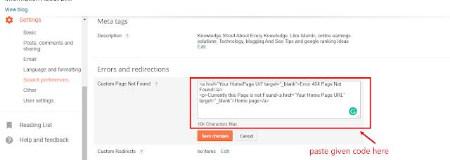 blogspot custom page not found